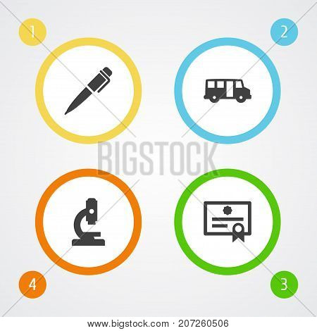 Collection Of Certificate, Ink, School Autobus And Other Elements.  Set Of 4 Education Icons Set.