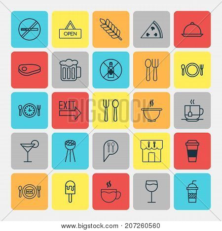 Cafe Icons Set. Collection Of Meal Hour, Hot Drink, Grill And Other Elements