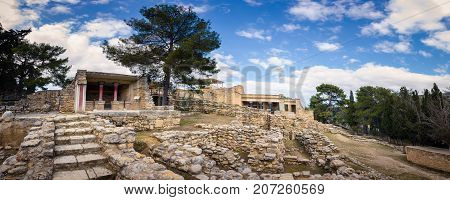 Ancient ruins of the famous Knossos Palace at Heraklion, Crete, Greece