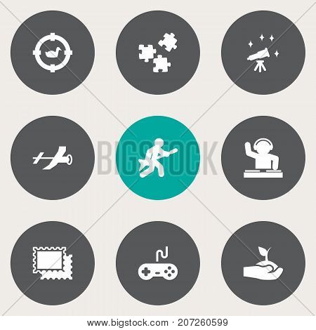 Collection Of Flying, Target, Joystick And Other Elements.  Set Of 9 Lifestyle Icons Set.