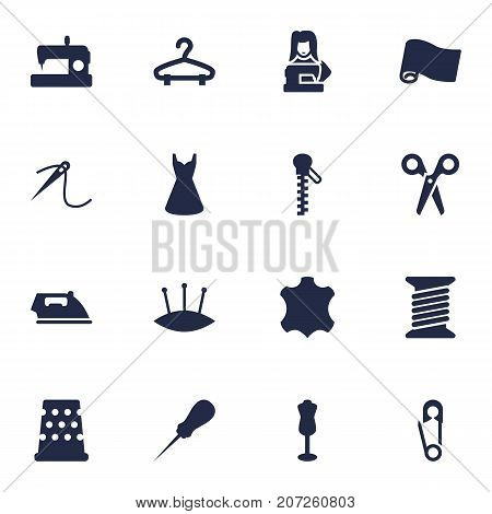 Collection Of Pintle, Mannequin, Flatiron And Other Elements.  Set Of 16 Tailor Icons Set.
