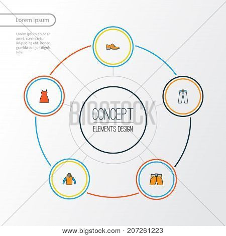 Garment Colorful Outline Icons Set. Collection Of Man Footwear, Shorts, Dress And Other Elements