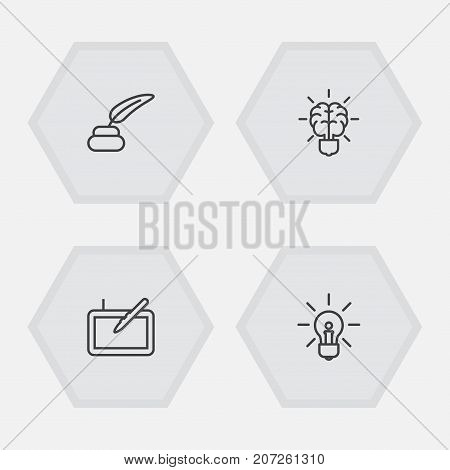 Collection Of Graphic Tablet, Brain, Inkwell With Pen And Other Elements.  Set Of 4 Creative Outline Icons Set.
