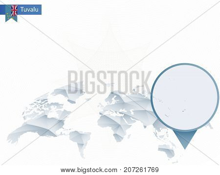 Abstract Rounded World Map With Pinned Detailed Tuvalu Map.