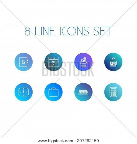 Collection Of Wall Clock, Bookshelf, Wastebasket And Other Elements.  Set Of 8 Bureau Outline Icons Set.