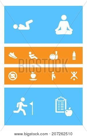 Collection Of Squat, Regime, Abdominal Crunches And Other Elements.  Set Of 12 Fitness Icons Set.