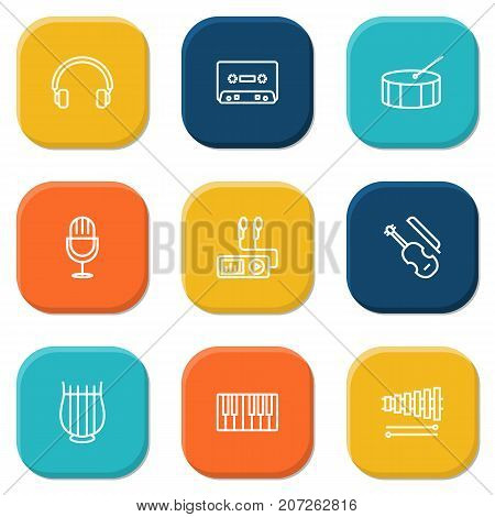 Collection Of Stringed, Headphones, Wooden Block And Other Elements.  Set Of 9 Song Outline Icons Set.
