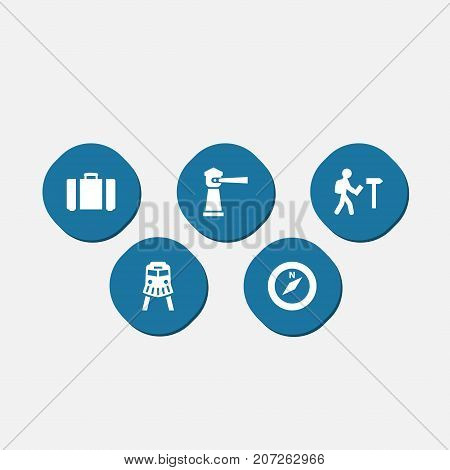Collection Of Suitcase, Traveler, Seamark And Other Elements.  Set Of 5 Relax Icons Set.