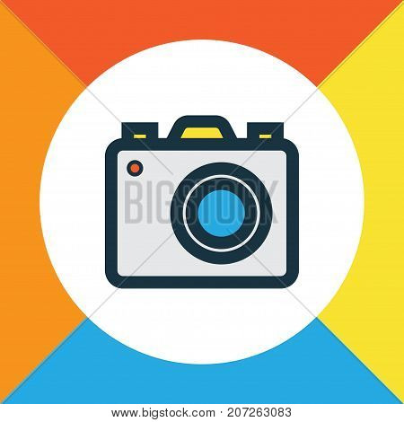 Premium Quality Isolated Camera Element In Trendy Style.  Photo Apparatus Colorful Outline Symbol.