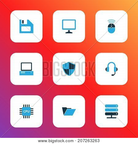 Computer Colorful Icons Set. Collection Of File, PC, Microprocessor And Other Elements