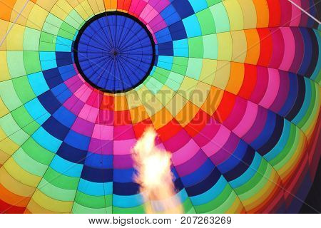 an Hot air balloon with burning flame