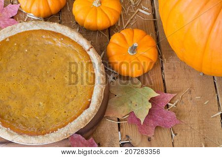 Whole pumpkin pie with pumpkins on a wooden surface