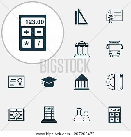 School Icons Set. Collection Of College, Diploma, Graduation And Other Elements