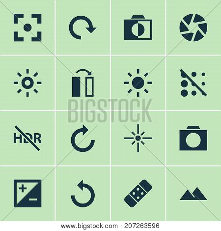Picture Icons Set. Collection Of Mode, Hdr Off, Capture And Other Elements