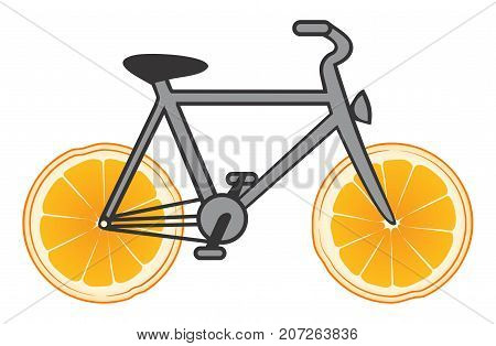 Vector bicycle of health with wheels from an orange on white background