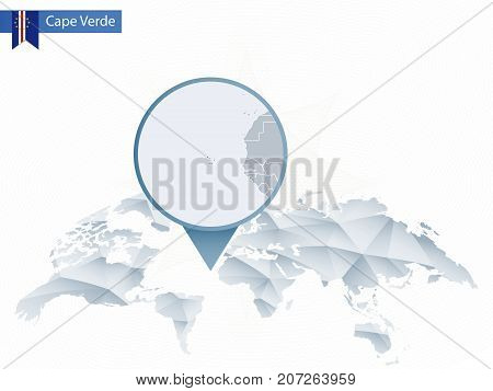 Abstract Rounded World Map With Pinned Detailed Cape Verde Map.