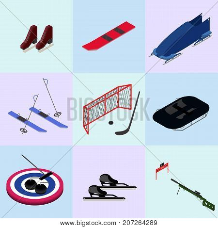 Set of isometric winter sports images in a vector