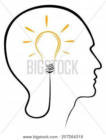 Vector head idea icon bulb concept vector illustration