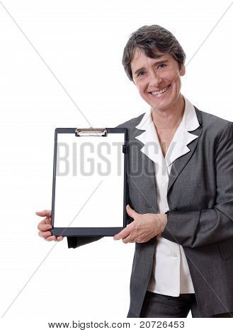 businesswoman showing blank paper
