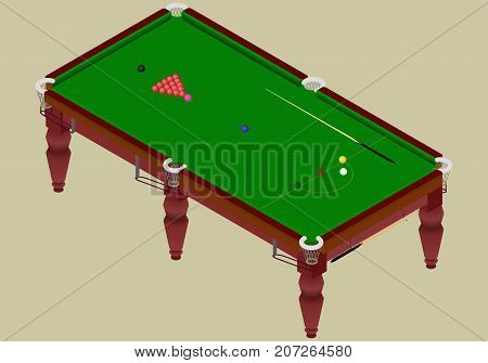 Isometric snooker playground table.Green table with balls and cue stick in a vector.