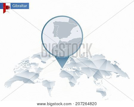 Abstract Rounded World Map With Pinned Detailed Gibraltar Map.