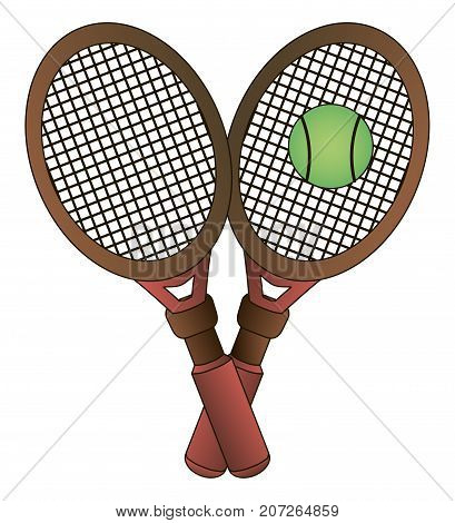 Vector two tennis rackets and ball on white background
