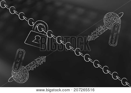 Lock And Chain With Private And Public Keys Made Of Electric Circuits