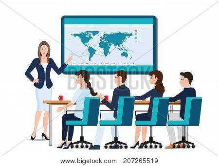 Business woman presenting on whiteboard with business people sitting on presentation at office business presentation conceptual vector illustration.