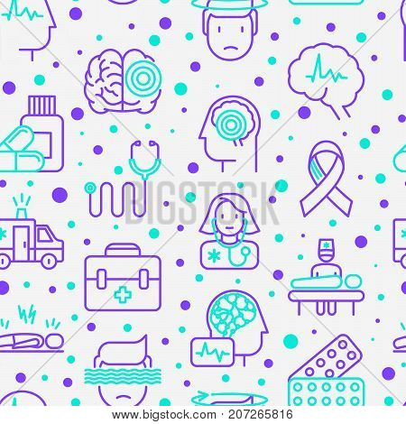 Epilepsy seamless pattern with thin line icons of symptoms and treatments: convulsion, disorder, dizziness, brain scan. World epilepsy day. Vector illustration for banner, web page, print media.