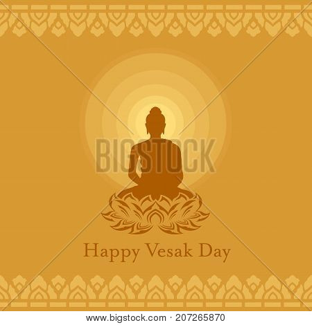 Happy Vesak day with Buddha lotus flower sign and Radius of light on yellow brown background art vector design