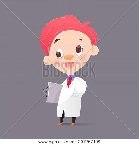The Cartoon Professor Doctor In White Gown Have Crazy Funny Face Vector Illustration