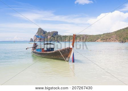 Traditional thai longtail boat at Phi Phi island Thailand