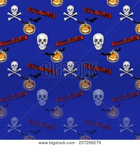 Halloween Gradient Background, Jack o' lantern, White Skull and Crossbones, Bats Flying, 3D, Template for American Holiday.