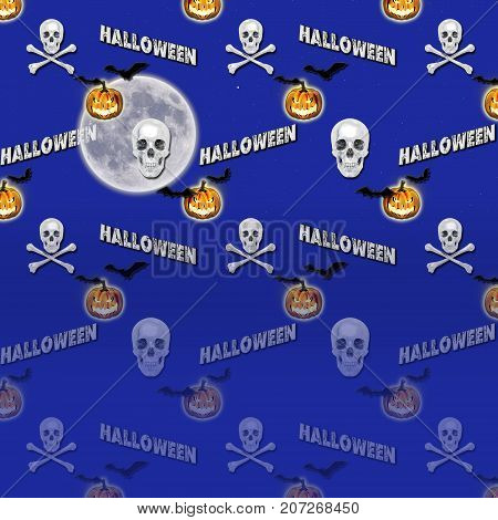Halloween Gradient Background, Moon, Jack o' lantern, Skull and Crossbones, Bats Flying, 3D, Template for American Holiday.