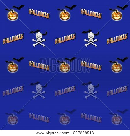 Halloween Gradient Background, Jack o' lantern, Skull and Crossbones, Bats Flying, 3D, Template for American Holiday.
