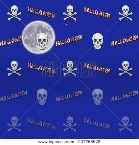 Halloween Gradient Background, Moon, Skull and Crossbones,  3D, Template for American Holiday.