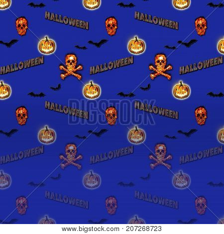 Halloween Gradient Background, Bats flying, Burning Skull and Crossbones, Jack o' lantern, 3D, Template for American Holiday.