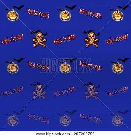 Halloween Background, Bats Flying, Jack o' lantern, Skull and Crossbones burning in Flames, 3D, Template for American Holiday.
