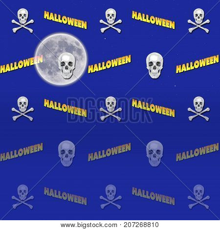 Halloween Background, Skull and Crossbones, Moon, 3D, Template for American Holiday.