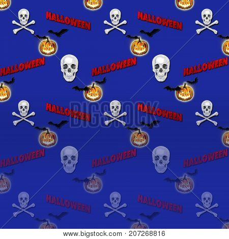 Halloween Background, Jack o' lantern, Skull and Crossbones, Bats Flying, 3D, Template for American Holiday.