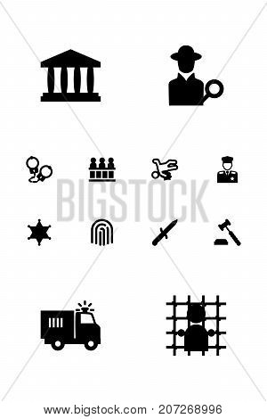 Collection Of Building, Jury, Jail And Other Elements.  Set Of 12 Criminal Icons Set.