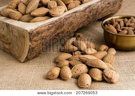 Almonds peeled in a bowl or in their nutshell on sackcloth