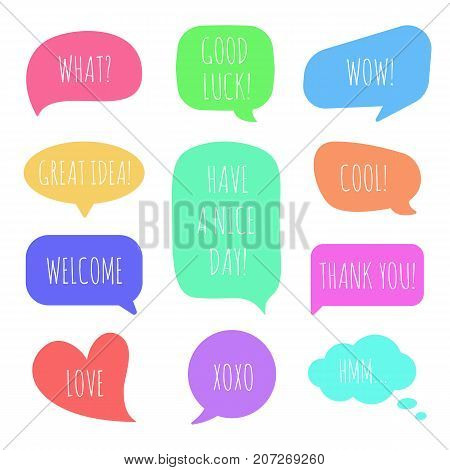 Speech bubbles with different phrases. Colorful vector set of dialog windows.