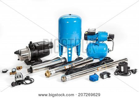 water pumps for a boiler room isolated on a white background
