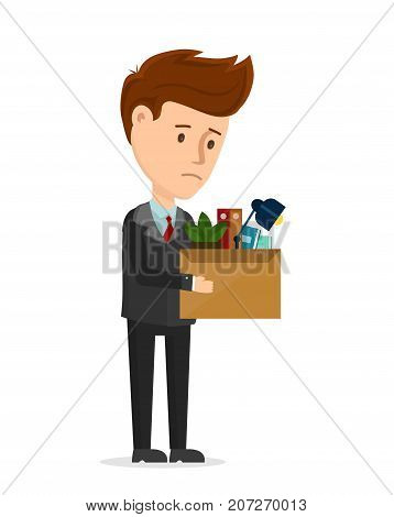 Dismissal frustrated concept. Business man is fired from the office stay with box. Vector cartoon modern trendy flat character illustration icon design. You are fired, employee job reduction, crisis
