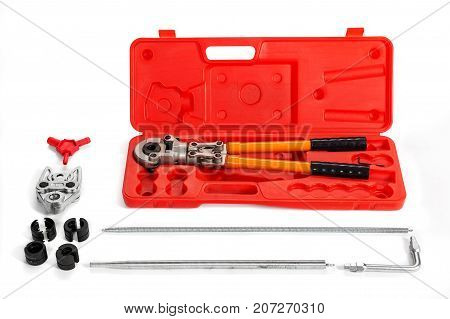Press pincers for metalplastic pipes in set isolated on a white background