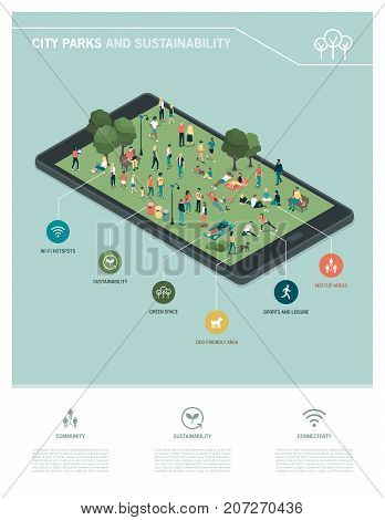 City park sustainability and technology infographic: people relaxing together and gathering in the park on a digital touch screen tablet