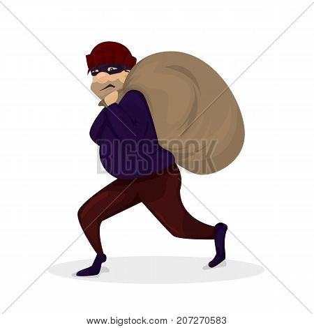 Thief in black mask. Robber walkingaway with large bag. Cartoon character vector illustration on white background