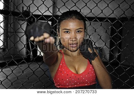 young beautiful and sexy Asian fighter woman in fighting gloves and sport clothes inside MMA cage posing cool in throwing punch in combat training workout fitness and healthy lifestyle concept