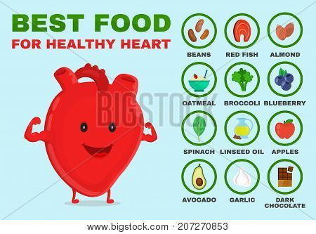 Best food for healthy heart. Strong heart character. Vector flat cartoon illustration icon. Isolated on blue backgound. Health food, diet, products, nutrition, nutriment infographic concept